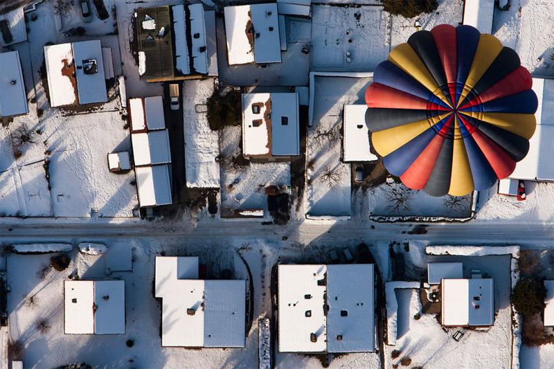 Zimowy lot balonem