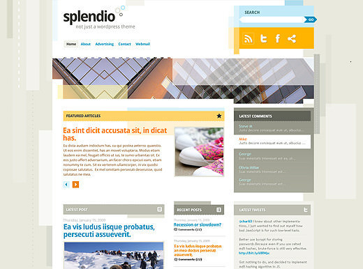 Splendio wp theme psd