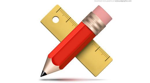 Ołówek i linijka psd