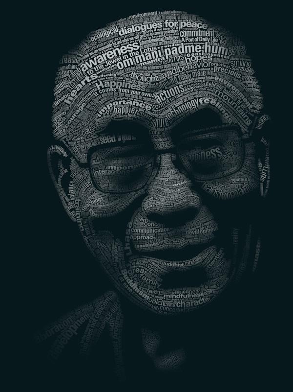 Dalaj Lama - portret typograficzny