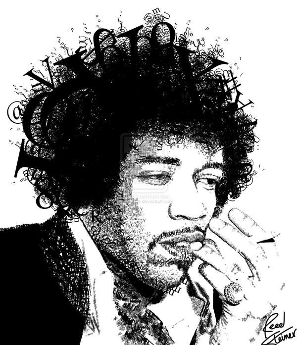 Jimmy Hendrix - portret typograficzny