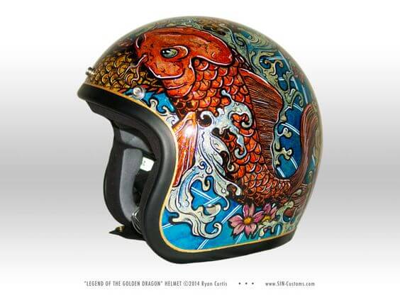 Biltwell Bonanza motorcycle helmet custom painted with a Koi and Golden Dragon