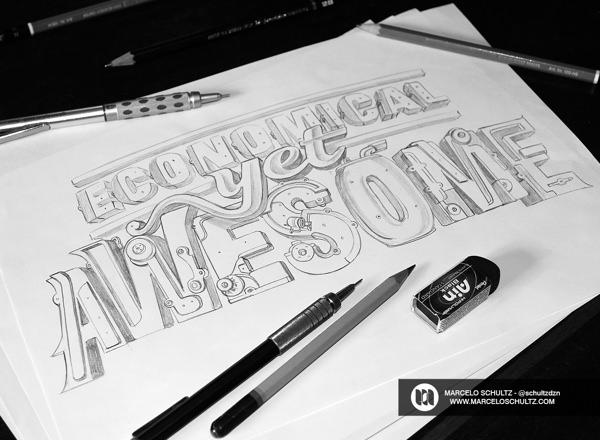 custom lettering szkice