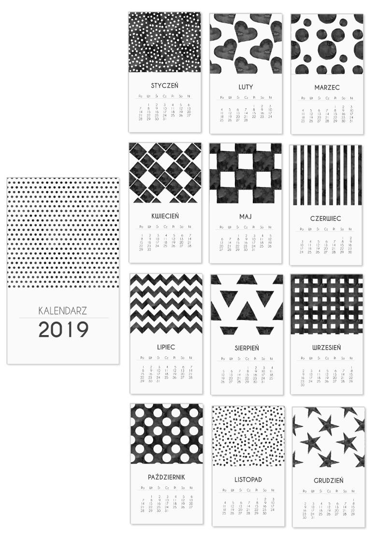 czarnobiały minimalistyczny kalendarz 2019 do druku