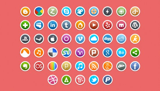 okrągłe ikony społecznościowe