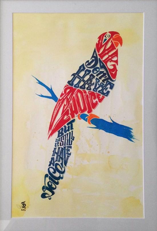 Daniele Tozzi typograficzne ptaki