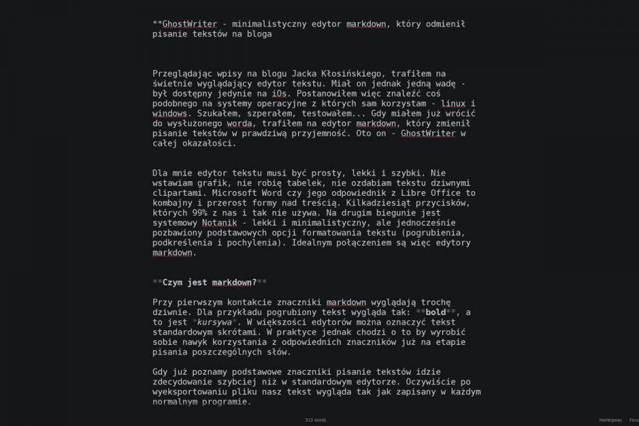 ghostwriter - minimalistyczny edytor markdown