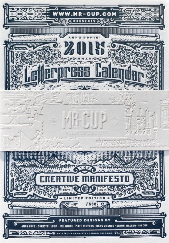 kalendarz letterpress 2015
