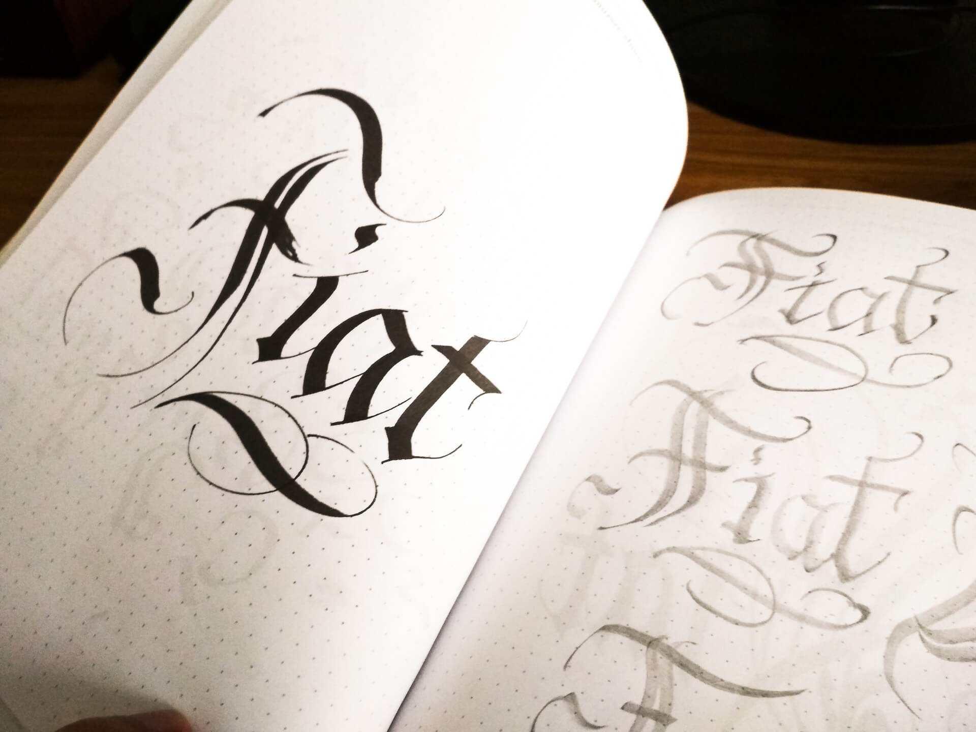 kaligrafia ołówek stolarski - karta z książki Grzegorza Barasińskiego