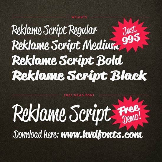 Reklame Script - custom lettering font